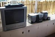 TV with DVD player and stereo