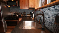 Kitchen counter top made of solid leather brushed granite