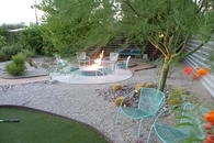 firepit and fruit trees