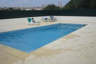 Sun splashed pool suitable for adults and children