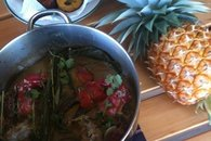 Fiji Bula Vista Cabin feast from local ingredients - chili crab, rice, fried plantains and fresh pineapple for dessert